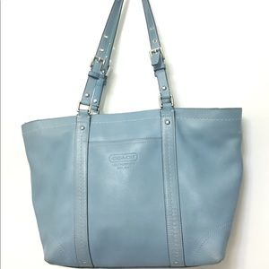 Coach Ice Blue Patent Leather Gallery Tote Bag